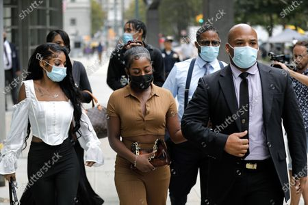 Family members of Jocelyn Savage, one time girlfriend of R.Kelly, exit US federal courthouse in the borough of Brooklyn for the start of the Kelly's federal trial in New York, New York, USA, 18 August 2021. US singer R. Kelly his real name Robert Sylvester Kelly is accused of a single count of racketeering with 14 underlying acts, including sex trafficking, kidnapping, forced labor and eight counts of violating the Mann Act, which prohibits sex trafficking across state lines.