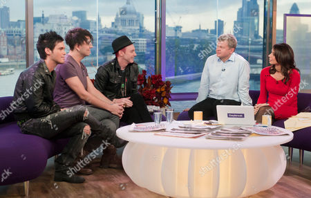 X Factor evictees Diva Fever (Craig Saggers and Josef Al Smad) and Storm Lee with Adrian Chiles and Christina Bleakeley