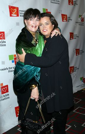Rosie O'Donnell and Linda Dano arrive for Rosie's Broadway Extravaganza at the Double Tree Hotel in New York on November 23, 2009.