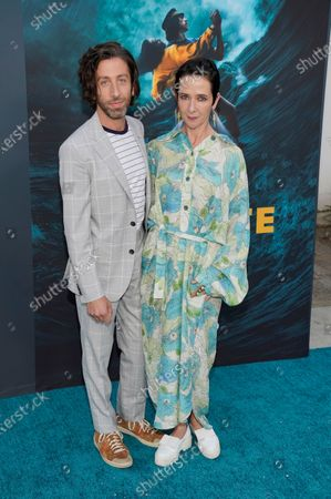 """Simon Helberg, a cast member in """"Annette,"""" poses with his wife Jocelyn Towne before a special screening of the film at the Hollywood Forever Cemetery, in Los Angeles"""