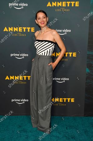 """Marion Cotillard, a cast member in """"Annette,"""" poses at a special screening of the film at the Hollywood Forever Cemetery, in Los Angeles"""