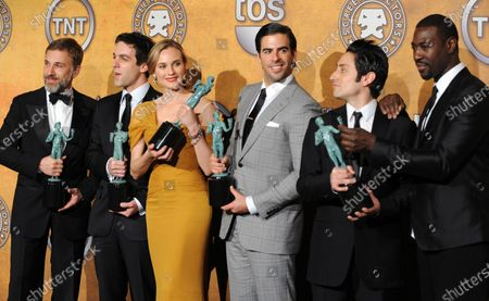 """Actors Christoph Waltz, B.J. Novak, Diane Kruger, Eli Roth, Omar Doom and Jacky Ido (L-R),  cast members in the film """"Inglourious Basterds"""" appear backstage after winning best performance by a cast in a motion picture at the 16th annual Screen Actors Guild Awards in Los Angeles on January 23, 2010."""