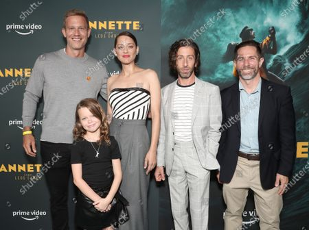 """Co-Head of Movies at Amazon Studios Matt Newman, Devyn McDowell, Marion Cotillard, Simon Helberg, and Sr. Executive Development at Prime Video Movies Scott Foundas attend Amazon Studios """"Annette"""" Los Angeles Premiere on Wed Aug 18, 2021 in Los Angeles."""