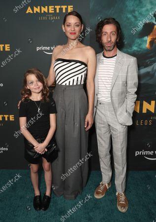 "Devyn McDowell, Marion Cotillard and Simon Helberg attend Amazon Studios ""Annette"" Los Angeles Premiere on Wed Aug 18, 2021 in Los Angeles."