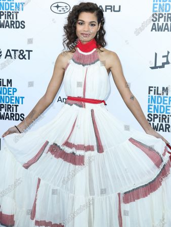 Actress Helena Howard wearing a Loewe dress and Nicholas Kirkwood heels arrives at the 2019 Film Independent Spirit Awards held at the Santa Monica Beach on February 23, 2019 in Santa Monica, Los Angeles, California, United States.