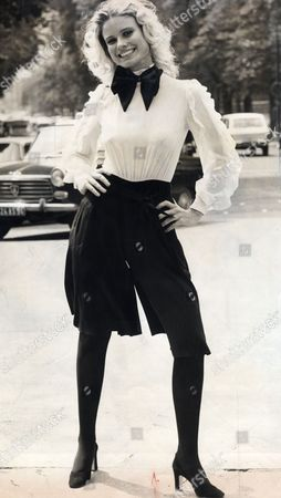 Suzie Miller (sue-louise Miller). Model Seen Here Wearing A Black And White Culotte Dress From La Frock Louis Feraud. Suzie Has Been Married To Richard Burton And James Hunt
