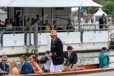 Olympian Sir Matthew Pinsent (standing) on umpire duties at Henley Royal Regatta