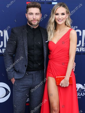 Chris Lane and Lauren Bushnell arrive at the 54th Academy Of Country Music Awards held at the MGM Grand Garden Arena on April 7, 2019 in Las Vegas, Nevada, United States.