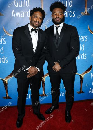 Stock Photo of Screenwriter Joe Robert Cole and director Ryan Coogler arrive at the 2019 Writers Guild Awards L.A. Ceremony held at The Beverly Hilton Hotel on February 17, 2019 in Beverly Hills, Los Angeles, California, United States.