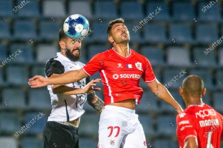 Santa Clara's Rui Costa (R) in action against Partizan's Scekic (L) during the UEFA Europa Conference League third qualifying round, first leg soccer match held at Sao Miguel Stadium, in Ponta Delgada, Azores Island, Portugal, 19 August 2021.