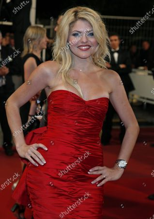 """Celine Durand arrives on the red carpet before the screening of the film """"Another Year"""" during the 63rd annual Cannes International Film Festival in Cannes, France on May 15, 2010."""