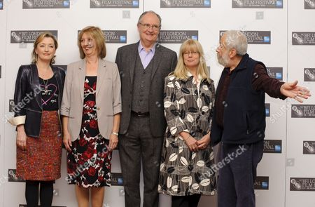 Lesley Manville, Ruth Sheen, Jim Broadbent, Georgina Lowe and director Mike Leigh