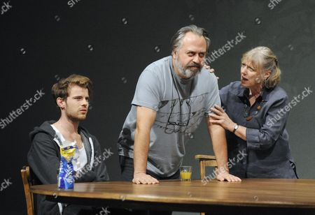 'Tribes' - Harry Treadaway (Daniel), Stanley Townsend (Christopher) and Kika Markham (Beth)