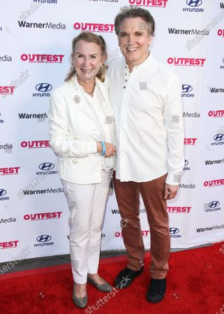 Actress Juliet Mills and actor Charles Busch arrive at the 2021 Outfest Los Angeles LGBTQ Film Festival Screening Of 'The Sixth Reel' held at the Directors Guild of America on August 19, 2021 in Los Angeles, California, United States.