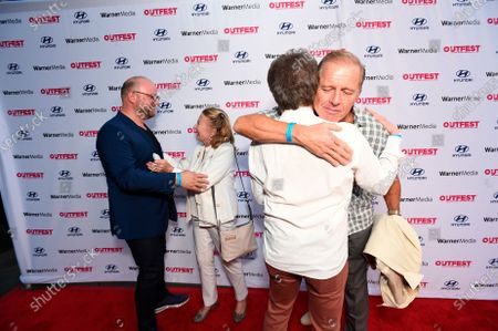 """Stock Picture of From left,co-director/co-writer Carl Andress, Juliet Mills, co-director/co-writer Charles Busch and Maxwell Caulfield attend """"The Sixth Reel"""" world premiere at Outfest LA 2021 at the Directors Guild of America, in Los Angeles"""