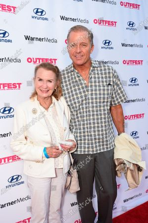 """Juliet Mills, left, and Maxwell Caulfield attend """"The Sixth Reel"""" world premiere at Outfest LA 2021 at the Directors Guild of America, in Los Angeles"""