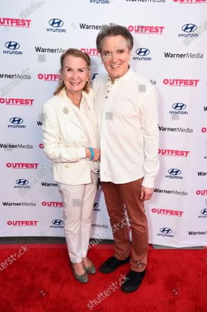 """Stock Image of Juliet Mills and co-director/co-writer Charles Busch attend """"The Sixth Reel"""" world premiere at Outfest LA 2021 at the Directors Guild of America, in Los Angeles"""