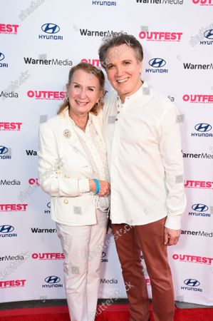 """Juliet Mills and co-director/co-writer Charles Busch attend """"The Sixth Reel"""" world premiere at Outfest LA 2021 at the Directors Guild of America, in Los Angeles"""