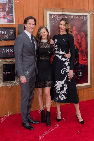 Stock Image of Peter Safran, Lou Lou Safran and Natalia Safran arrive at the Los Angeles Premiere Of Warner Bros' 'Annabelle Comes Home' held at Regency Village Theatre on June 20, 2019 in Westwood, Los Angeles, California, United States.