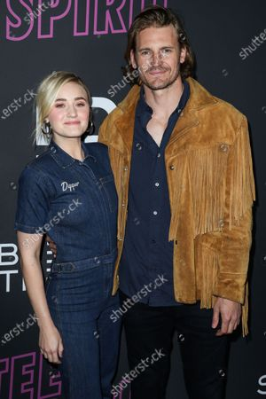 Actress AJ Michalka and boyfriend Josh Pence arrive at the Los Angeles Special Screening Of Bleecker Street's 'Teen Spirit' held at ArcLight Cinemas Hollywood on April 2, 2019 in Hollywood, Los Angeles, California, United States.