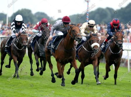 Stock Photo of Lusail and Pat Dobbs Win the Al Basti Equiworld Dubai Gimcrack Stakes York Racecourse Trained by Richard Hannon Owned by Al Shaqab Racing