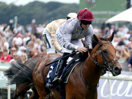 Stock Picture of Lusail and Pat Dobbs Win the Al Basti Equiworld Dubai Gimcrack Stakes York Racecourse Trained by Richard Hannon Owned by Al Shaqab Racing