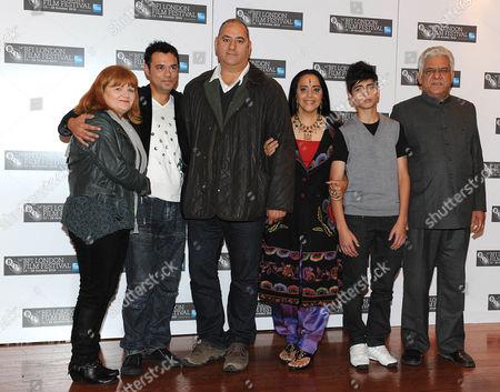 L-R Lesley Nicol, Emil Marwa, Ayub Khan-Din, Ila Arun, Aqib Khan and Om Puri