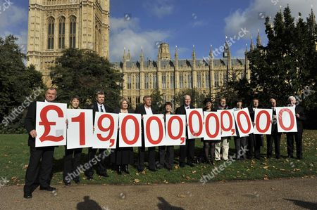 Editorial photo of Trade Union General Secretaries hold a figure sum of the amount that UK banks will avoid on their profits, London, Britain - 19 Oct 2010