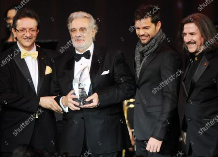 Latin Recording Academy President Gabriel Abaroa Jr., Recording Academy's president/CEO Neil Portnow, honoree Placido Domingo, singer Ricky Martin and Chairman of the Latin Recording Academy Luis Cobos are seen onstage at the 2010 Person of the Year honoring  Domingo, at the Mandalay Bay in Las Vegas, Nevada on November 10, 2010.