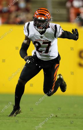 Cincinnati Bengals defensive back Tony Brown (27) runs during an NFL preseason football game against the Washington Football Team, in Landover, Md