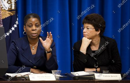 Ursula M. Burns, chief executive officer of Xerox, speaks as Valerie Jarrett, senior advisor to the President, listens during a meeting of the President's Export Council in the Eisenhower Executive Office Building adjacent to the White House in Washington on December 9, 2010.