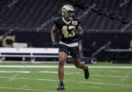 New Orleans Saints free safety Marcus Williams runs a drill during NFL football training camp practice, in New Orleans