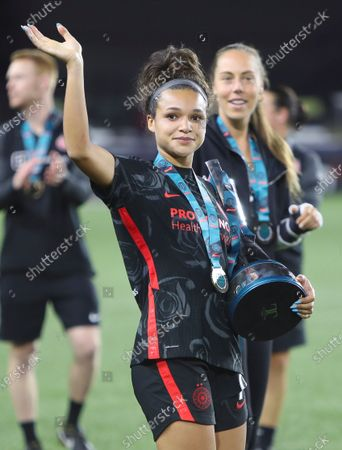 Sophia Smith of the Portland Thorns FC celebrates after defeating Olympique Lyonnais 1-0 for the WICC.