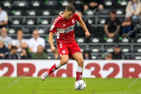 Middlesbrough midfielder Sam Morsy  (5)  during the EFL Sky Bet Championship match between Derby County and Middlesbrough at the Pride Park, Derby