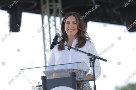 Danish Crown Princess Mary delivers a speech during the Noerrebro Pride, at Noerrebro district in Copenhagen, Denmark, 21 August 2021. Noerrebro Pride is divided into blocks of 50 people due to the pandemic. At the very front is the block with the QTIBIPOC people. (Queer, Trans, Intersex, Black, Indigenous, People of Color).