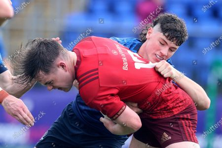 Munster vs Leinster. Munster's Jimi Fenton is tackled by Andrew Doyle of Leinster