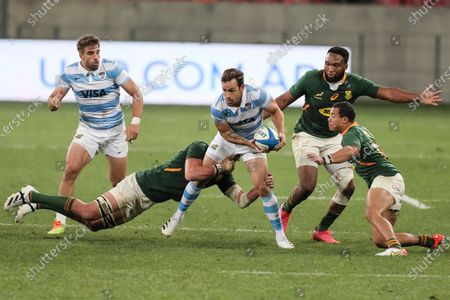 Nicolas Sanchez of Argentina tries to break through the defence during the second Rugby Championship match between Argentina and South Africa at the Nelson Mandela Bay Stadium, Gqebeha, South Africa