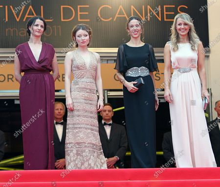 """(From L to R) Julia Leigh, Emily Browning, Jessica Brentnall and Rachael Blake arrive on the red carpet before the screening of the film """"Sleeping Beauty"""" during the 64th annual Cannes International Film Festival in Cannes, France on May 12, 2011."""