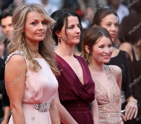 """(From L to R) Rachael Blake, Julia Leigh, Emily Browning and Jessica Brentnall arrive on the red carpet before the screening of the film """"Sleeping Beauty"""" during the 64th annual Cannes International Film Festival in Cannes, France on May 12, 2011."""