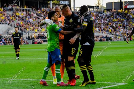 Raul Ruidiaz and Vito Wormgoor interact near the Columbus crew goal. Seattle Sounders defeated Columbus Crew at Lower.com Field in Columbus, Ohio one Aug. 21, 2021