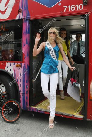 Editorial picture of Miss USA contestants build bikes for military families in New York, United States - 26 May 2011