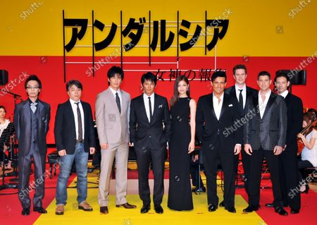 """(L-R)Musical director Yugo Kanno, film director Hiroshi Nishitani, Japanese actor Hideaki Ito, Yuji Oda, actress Meisa Kuroki, Il Divo pose for camera during a premiere for the Japanese film """"Andalsia"""" in Tokyo, Japan, on June 8, 2011."""