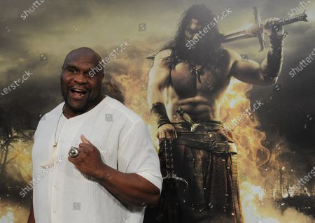 """Bob Sapp, a cast member in the motion picture adventure fantasy """"Conan the Barbarian"""", attends the premiere of the film at the Regal Theatre in Los Angeles on August 11, 2011."""