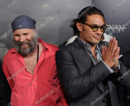 """Stock Picture of German director Marcus Nispel (L) and Jason Mamoa, a cast member in the motion picture adventure fantasy """"Conan the Barbarian"""", attend the premiere of the film at the Regal Theatre in Los Angeles on August 11, 2011."""