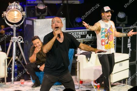 Luis Fonsi, Jo Koy and AJ McLean pictured at The After Party performance