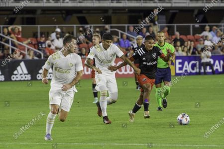 Edison Flores of DC United and Alan Franco of Atlanta United in action during the Major League Soccer match between DC United and Atlanta United at Audi Field.Final score; DC United 1:2 Atlanta United.