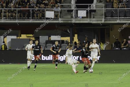 Edison Flores of DC United and Amar Sejdic of Atlanta United in action during the Major League Soccer match between DC United and Atlanta United at Audi Field.Final score; DC United 1:2 Atlanta United.