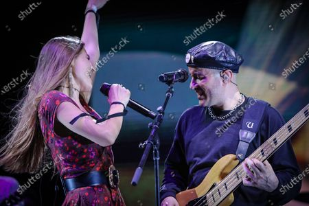 Stock Image of  Delic and Willy Rodriguez of Cultura Profetica perform at Cosquin Rock USA at Island Gardens in Miami, Florida on August 21, 2021.