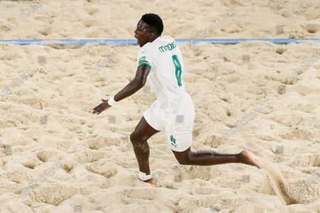 Mandione Diagne of Senegal celebrates his goal during the FIFA Beach Soccer World Cup Russia 2021 Group D match between Portugal and Senegal on August 22, 2021 at Luzhniki Beach Soccer Stadium in Moscow, Russia.