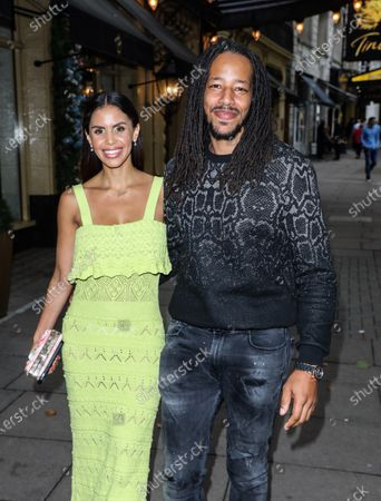 Shanie Ryan and Tony Sinclair seen arriving for the Sophie Tea Nude Art Preview and Catwalk Event at the Waldorf Hilton in London.